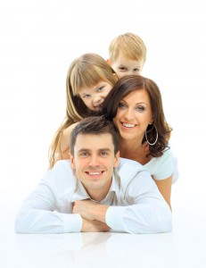whole family smiling