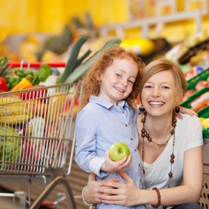 Mom and daughter making healthy food choices