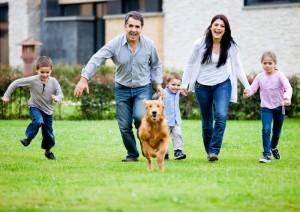 happy family running happily